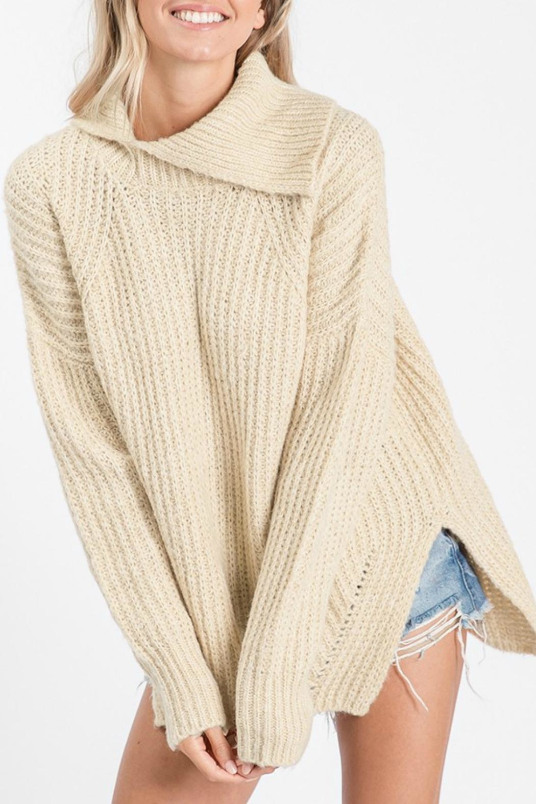 Pretty Little Things Open Cowlneck Sweater - Main Image