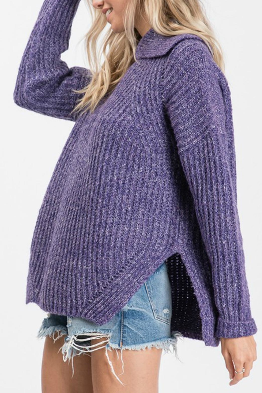 Pretty Little Things Open Cowlneck Sweater - Front Full Image