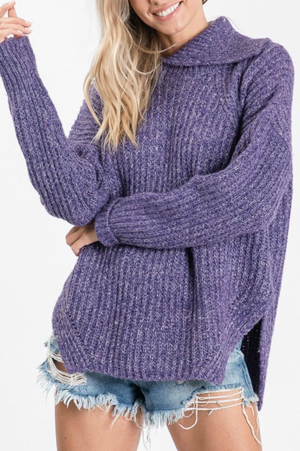 Pretty Little Things Open Cowlneck Sweater - Front Cropped Image