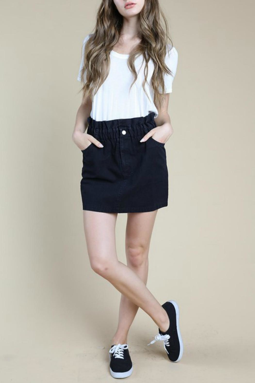 Pretty Little Things Paperbag Denim Skirt - Front Cropped Image