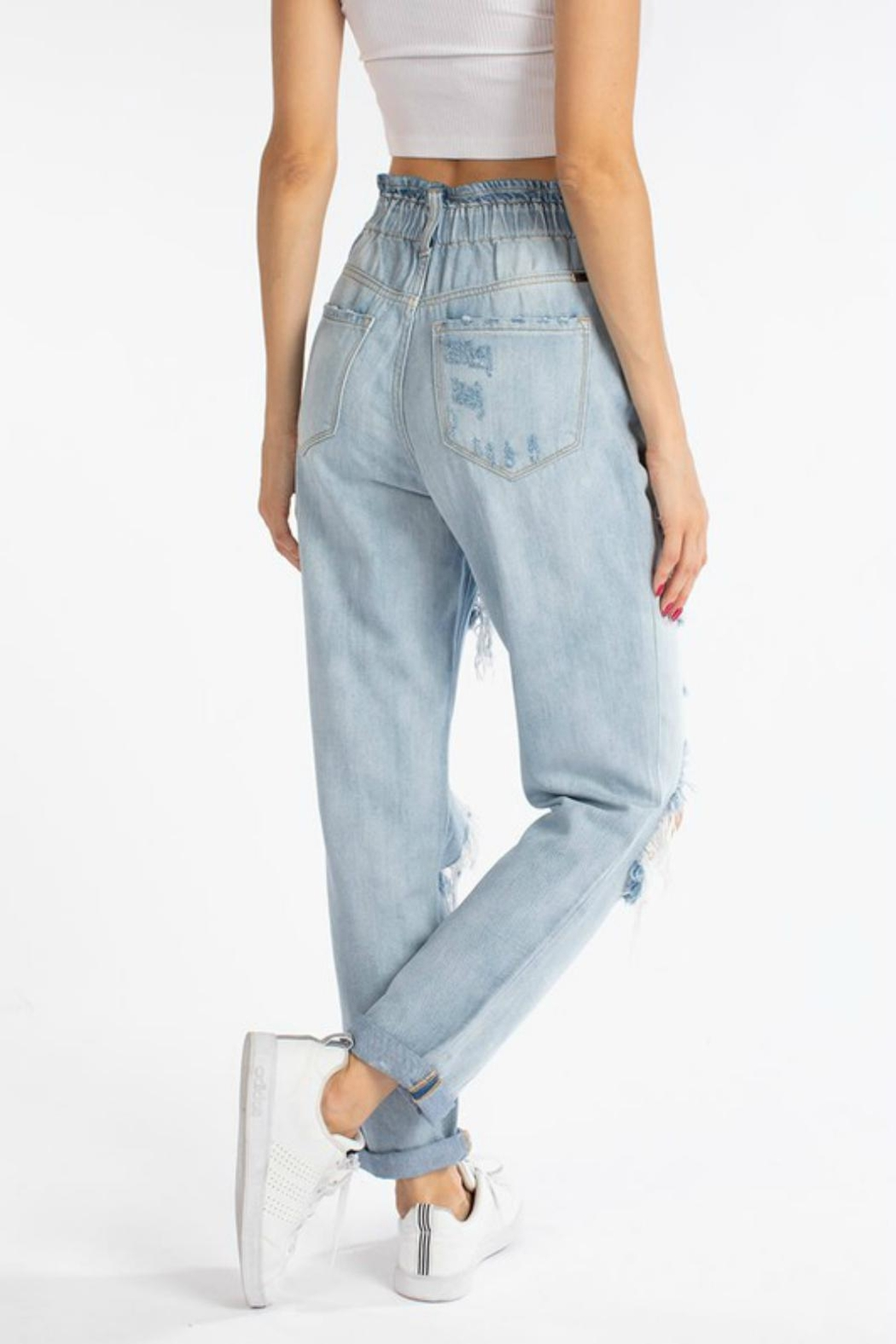 Pretty Little Things Paperbag Mom Jeans - Side Cropped Image