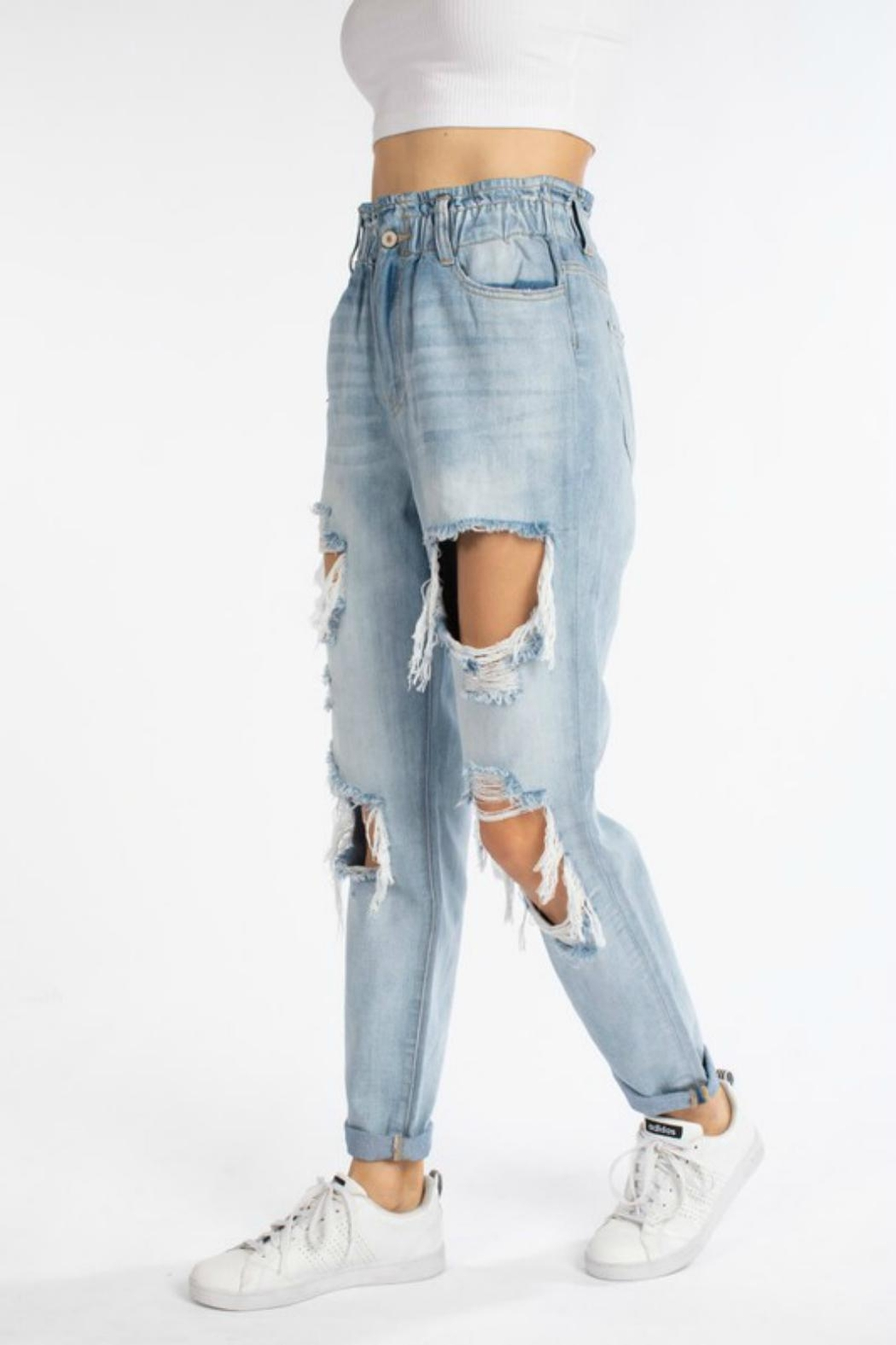 Pretty Little Things Paperbag Mom Jeans - Front Full Image