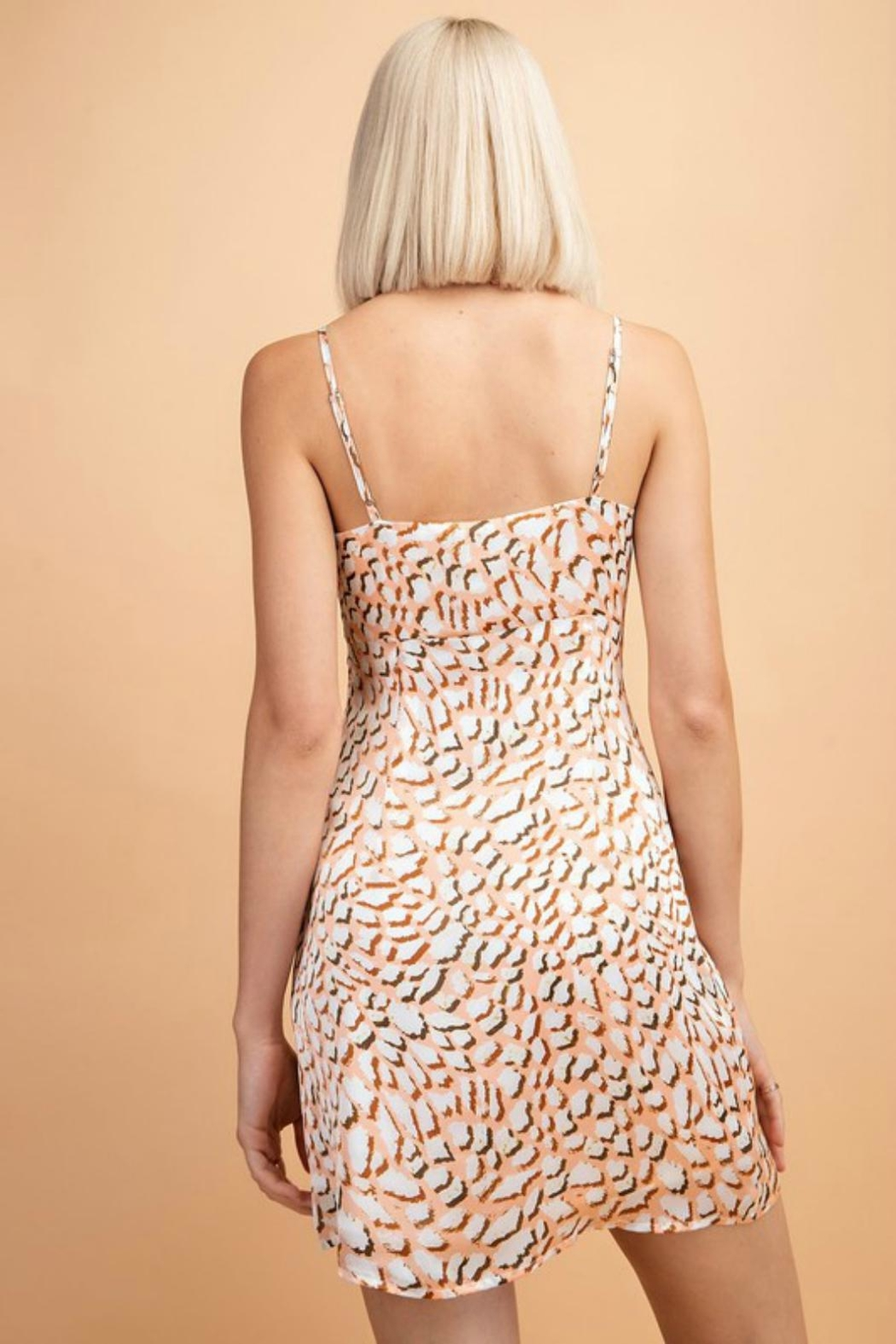 Pretty Little Things Peachy Leopard Dress - Front Full Image