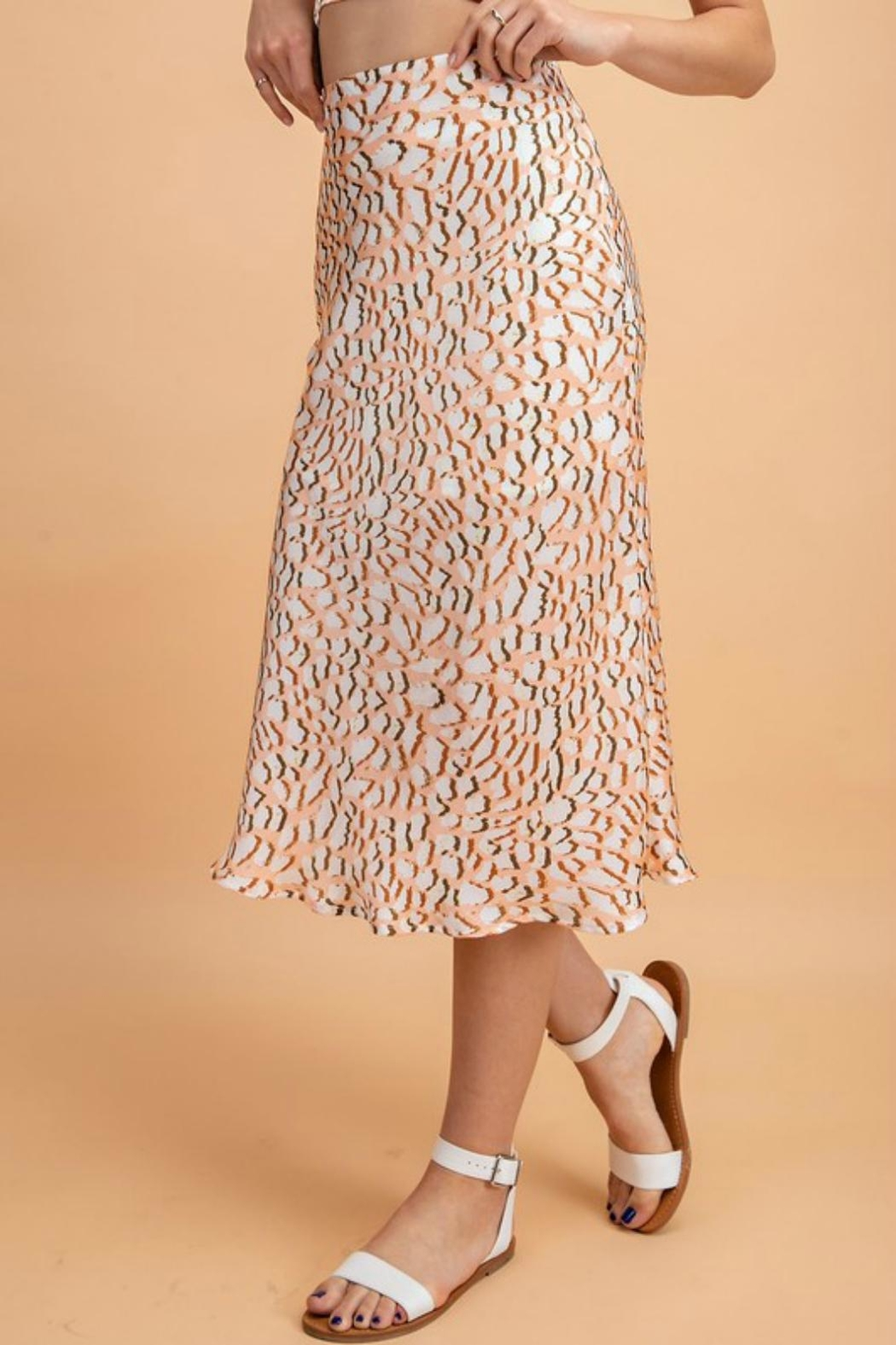 Pretty Little Things Peachy Leopard Skirt - Front Full Image
