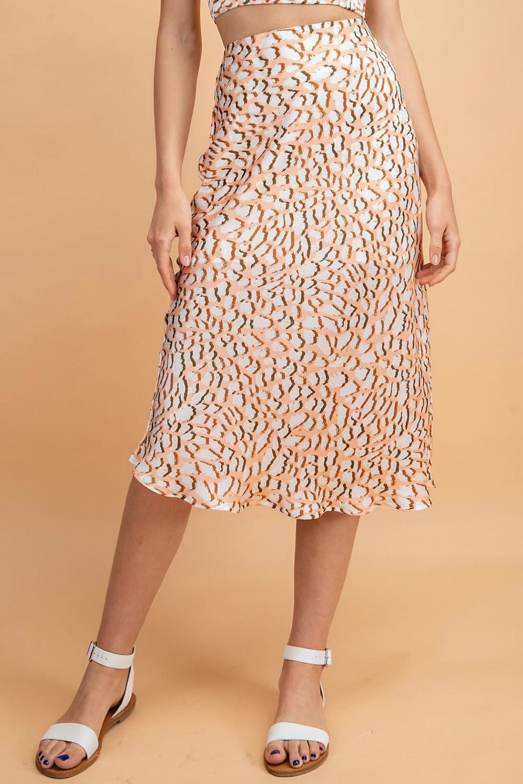 Pretty Little Things Peachy Leopard Skirt - Front Cropped Image
