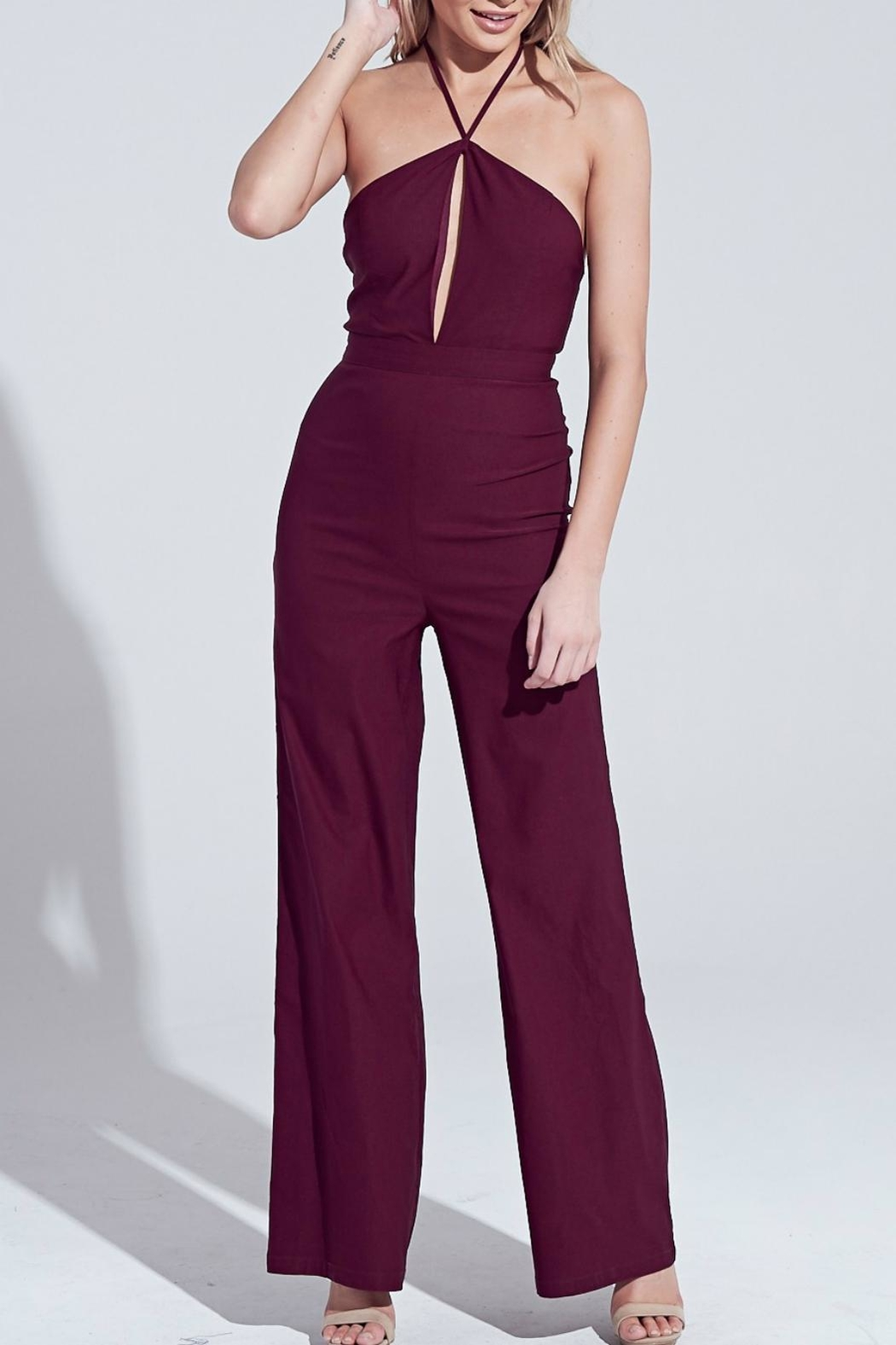 Pretty Little Things Peekaboo Halter Jumpsuit - Front Cropped Image