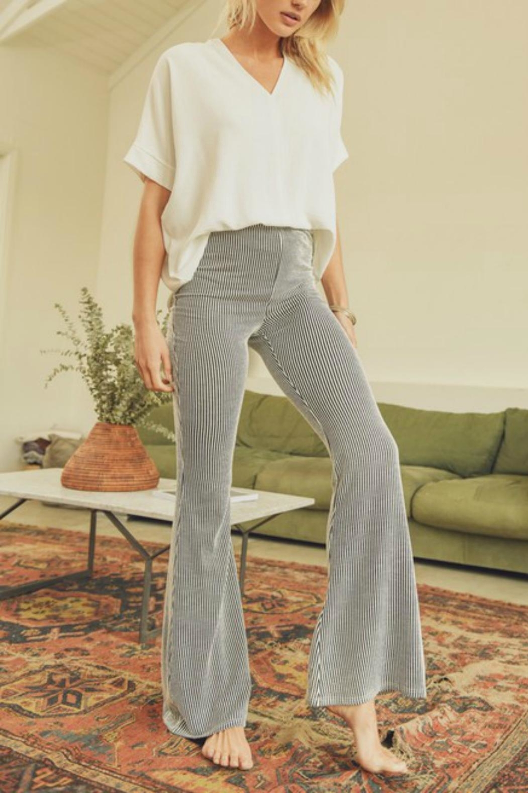 Pretty Little Things Pinstripe Flare Pants - Main Image