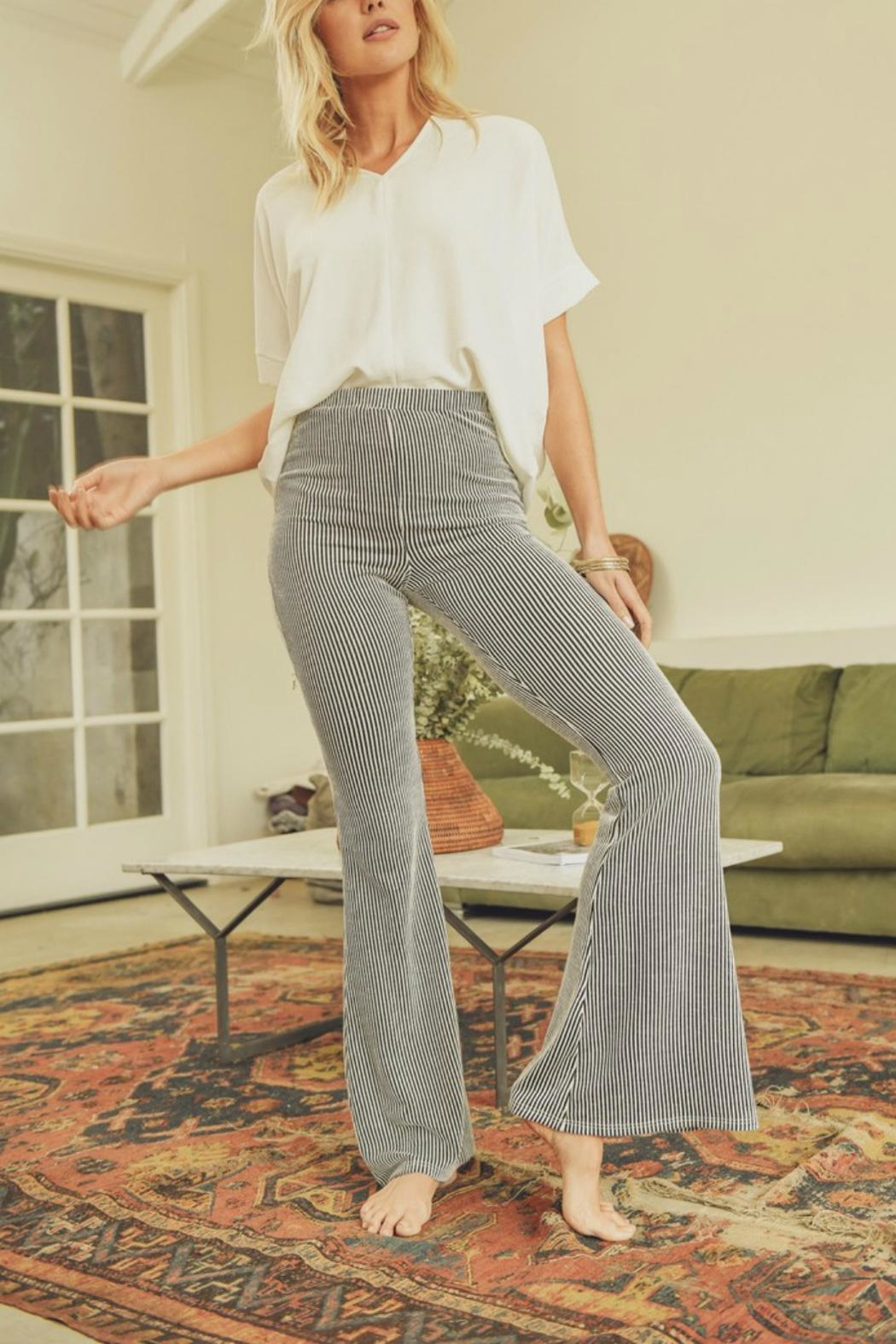 Pretty Little Things Pinstripe Flare Pants - Front Full Image