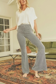 Pretty Little Things Pinstripe Flare Pants - Front full body