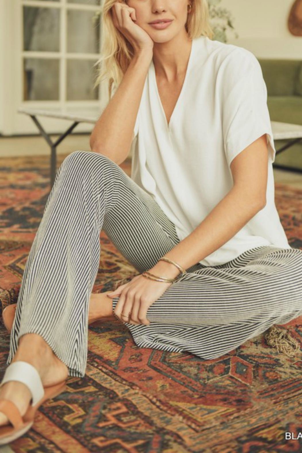 Pretty Little Things Pinstripe Flare Pants - Side Cropped Image