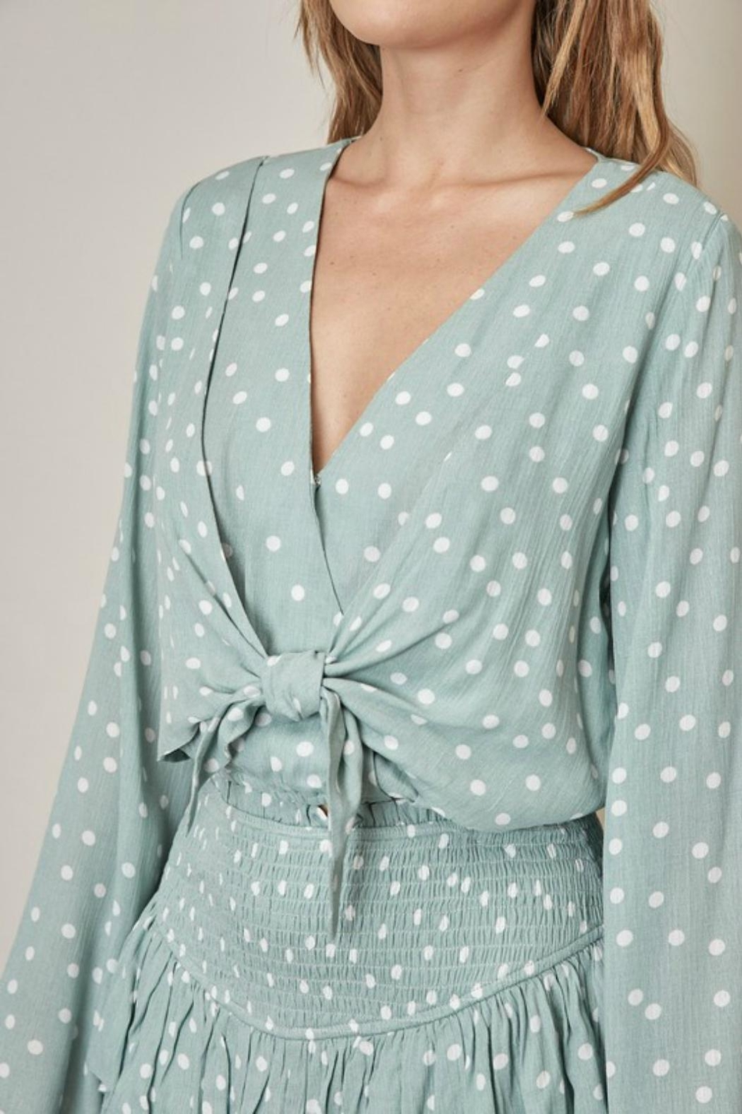 Pretty Little Things Polka Dot Blouse - Back Cropped Image