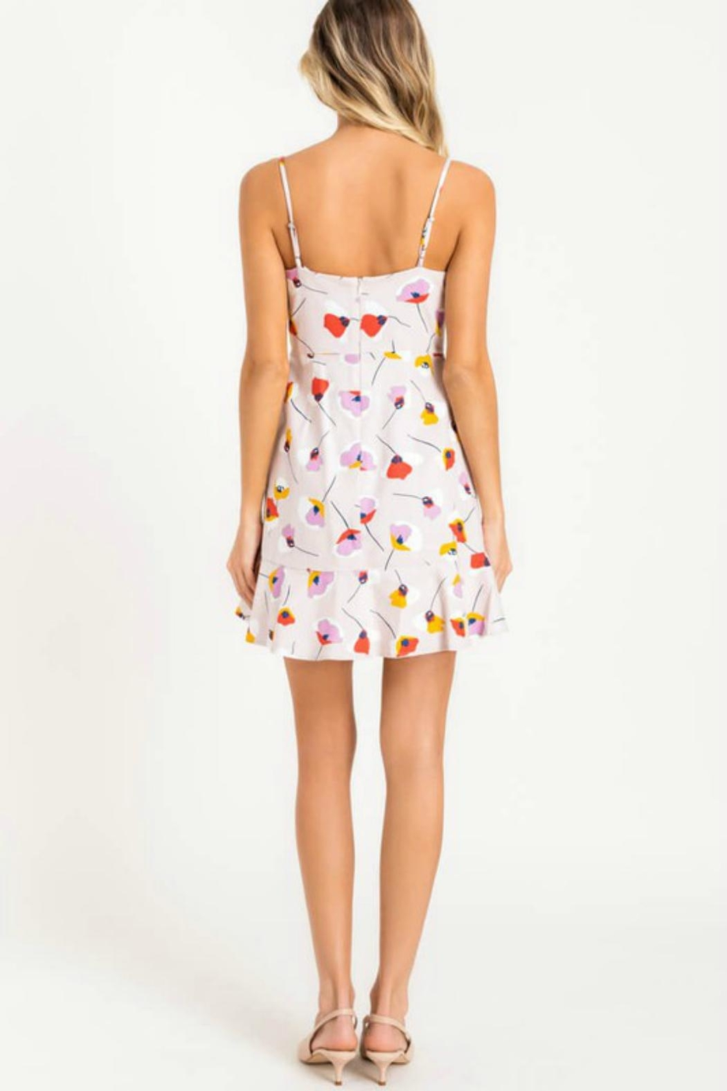 Pretty Little Things Printed Ruffle Dress - Side Cropped Image