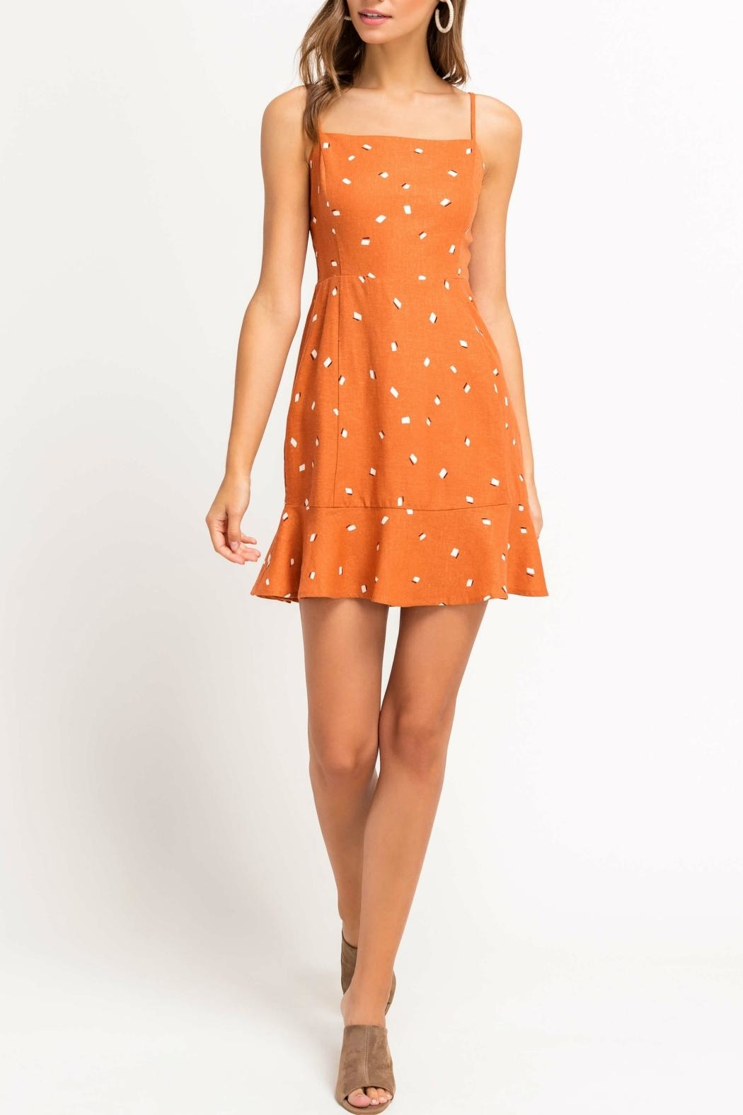Pretty Little Things Printed Ruffle Dress - Front Full Image