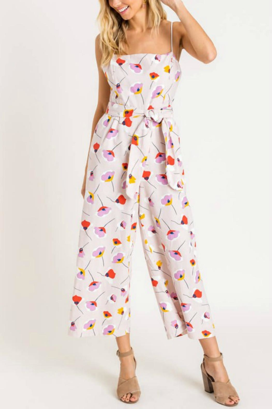 Pretty Little Things Printed Tie Jumpsuit - Main Image