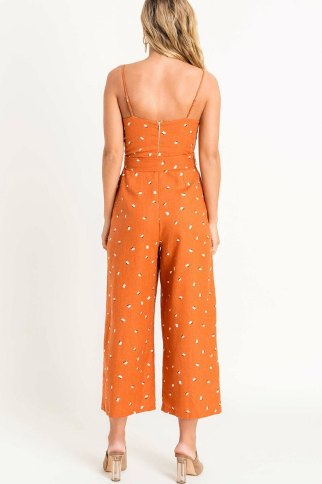 Pretty Little Things Printed Tie Jumpsuit - Front Full Image