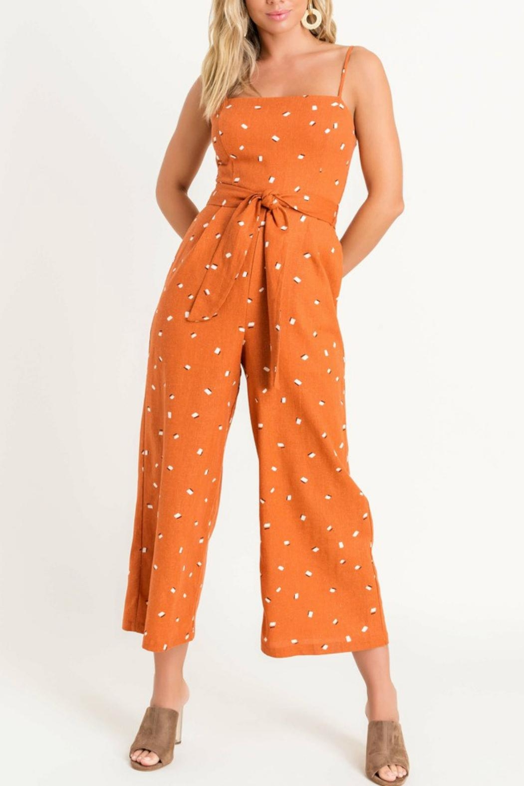 Pretty Little Things Printed Tie Jumpsuit - Front Cropped Image