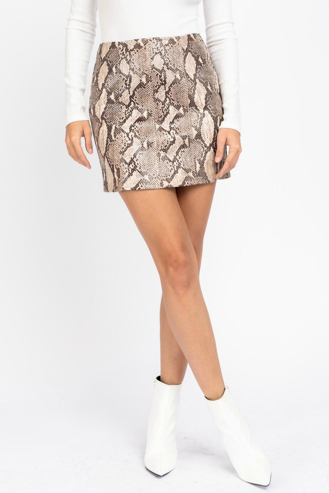 Pretty Little Things Python Snakeskin Skirt - Front Cropped Image
