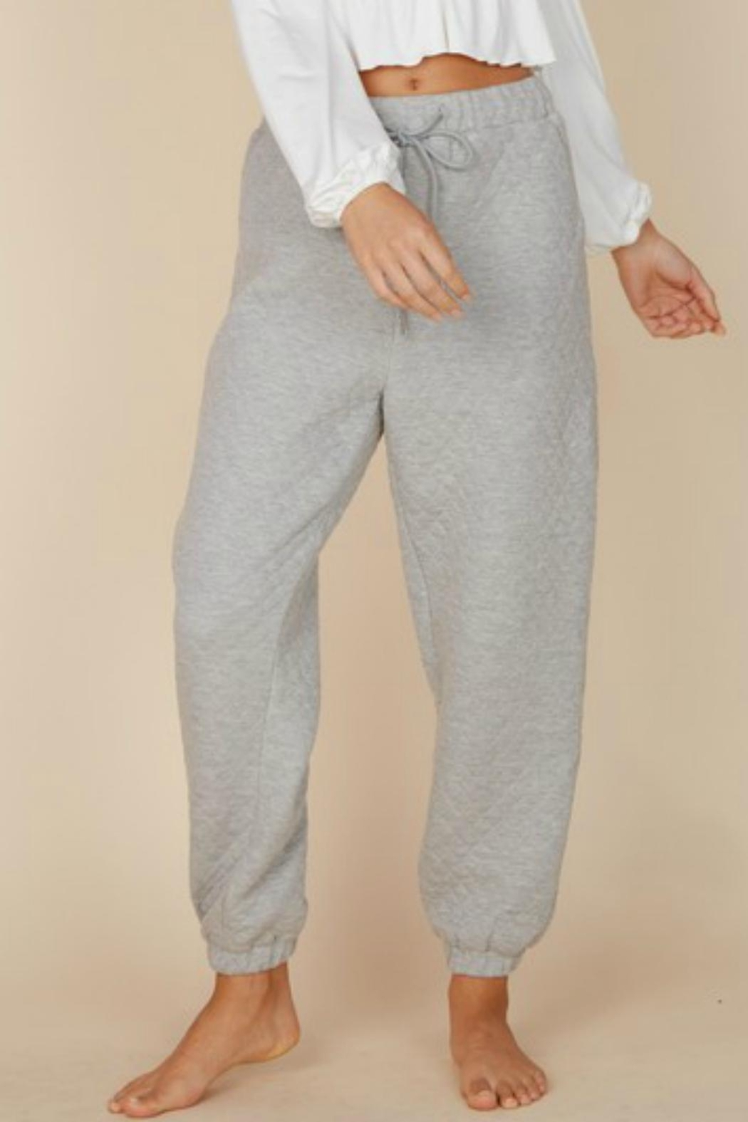 Pretty Little Things Quilted Joggers - Front Cropped Image