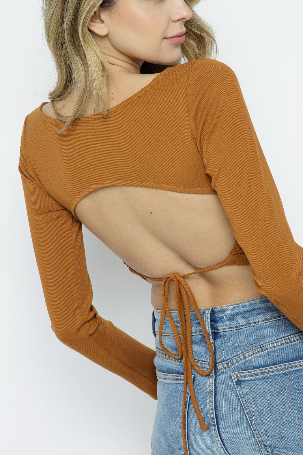 Pretty Little Things Ribbed Backless Top - Front Full Image