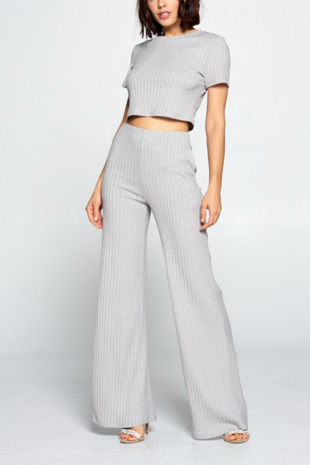 Pretty Little Things Ribbed Knit Flares - Main Image
