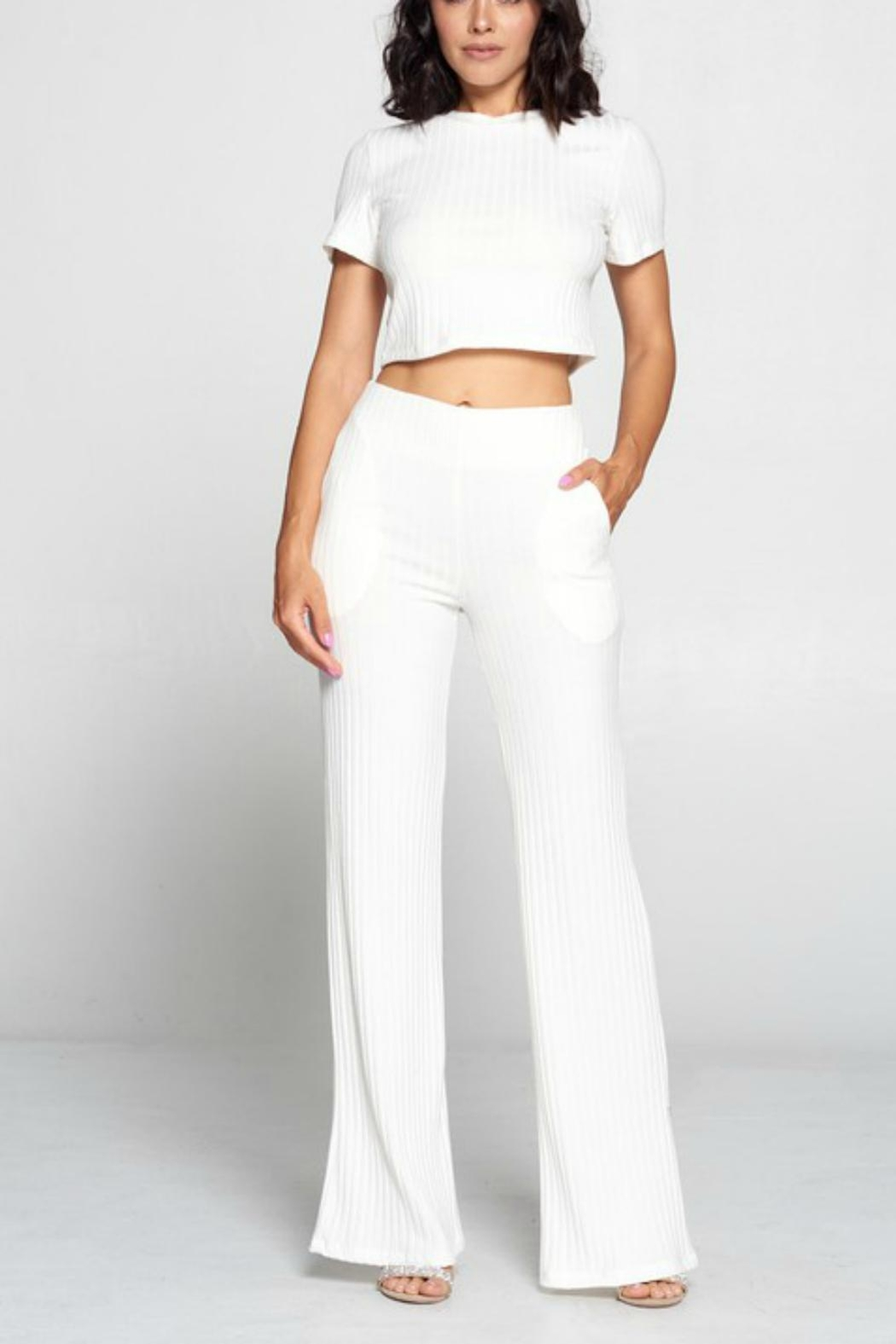 Pretty Little Things Ribbed Knit Flares - Front Cropped Image