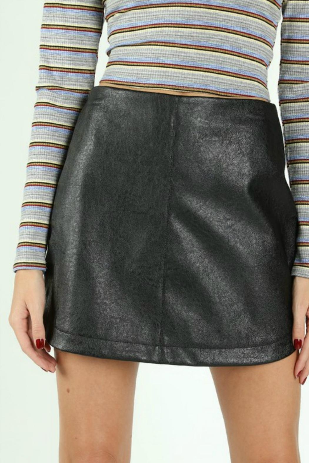 Pretty Little Things Rounded Leather Skirt - Front Full Image