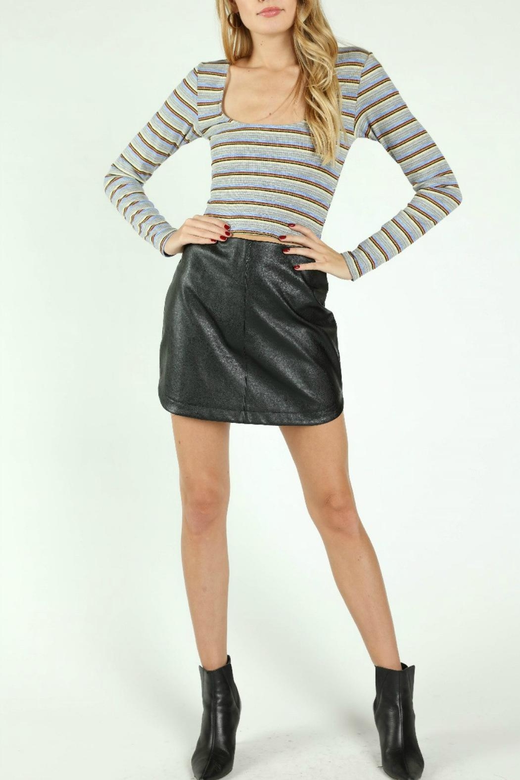 Pretty Little Things Rounded Leather Skirt - Main Image