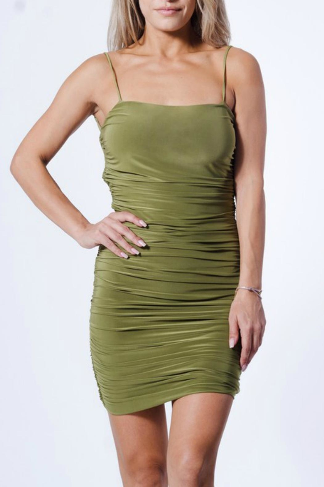 Pretty Little Things Ruched Bodycon Dress - Front Cropped Image