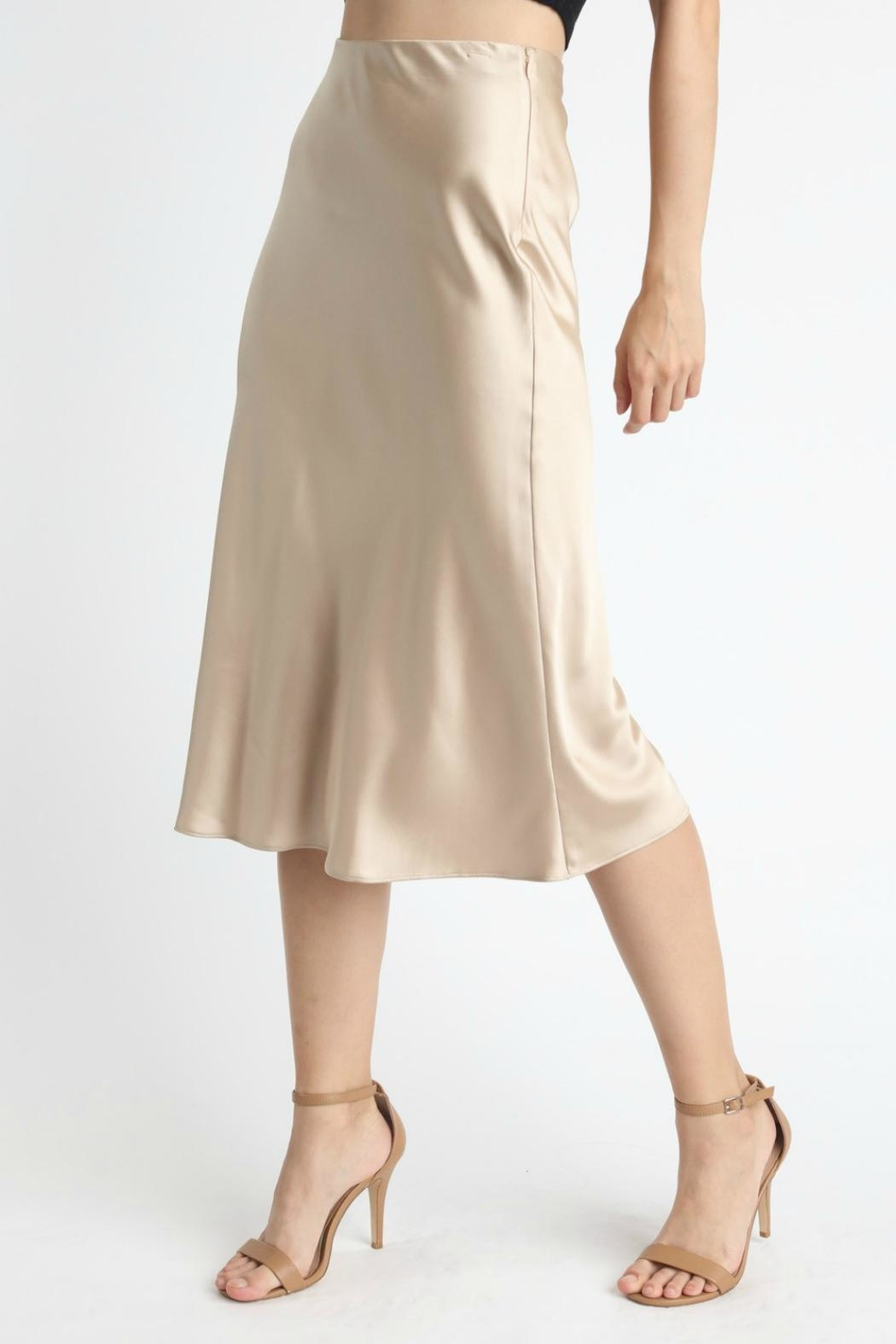 Pretty Little Things Satin Midi Skirt - Main Image