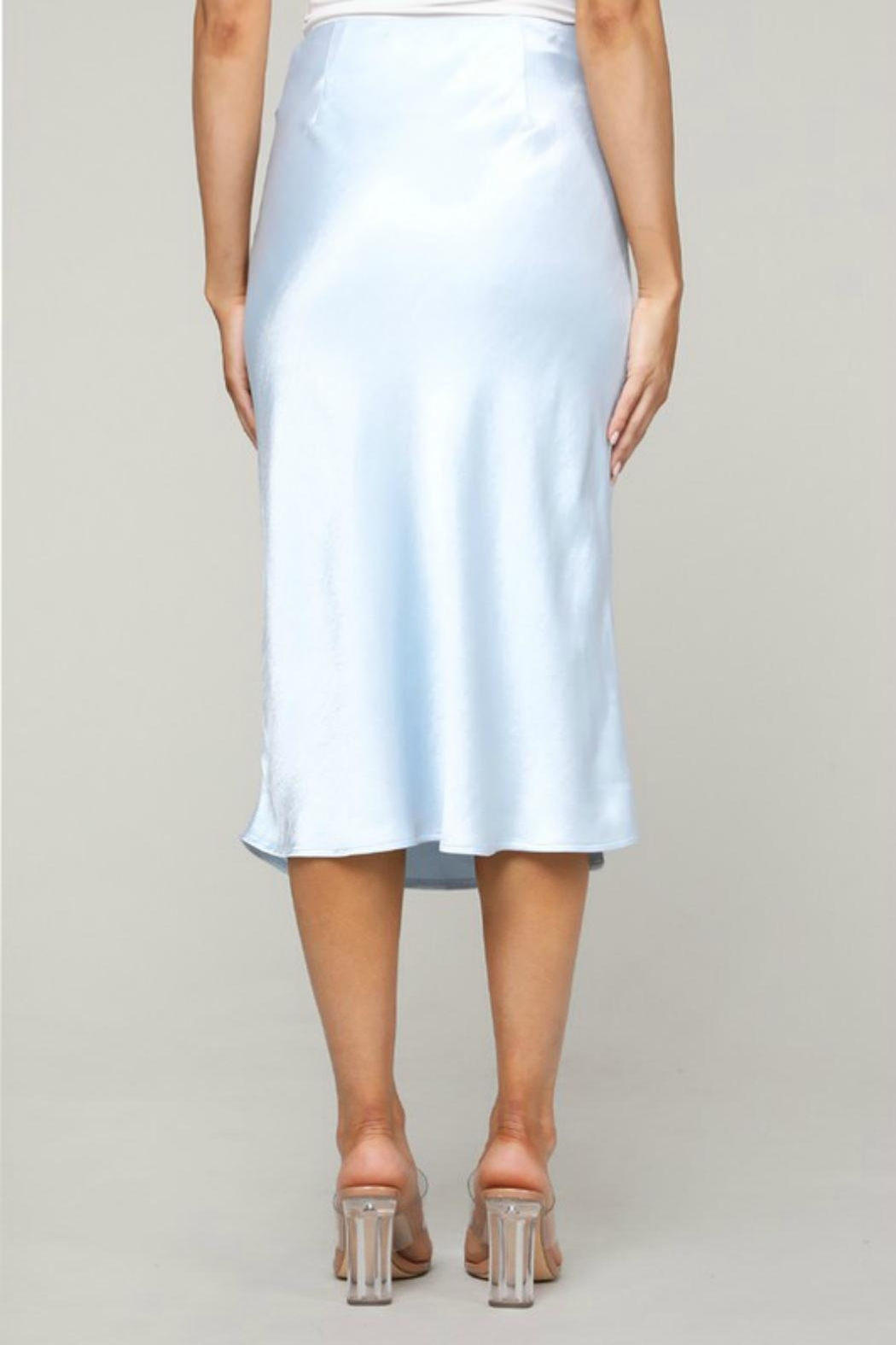 Pretty Little Things Satin Midi Skirt - Side Cropped Image
