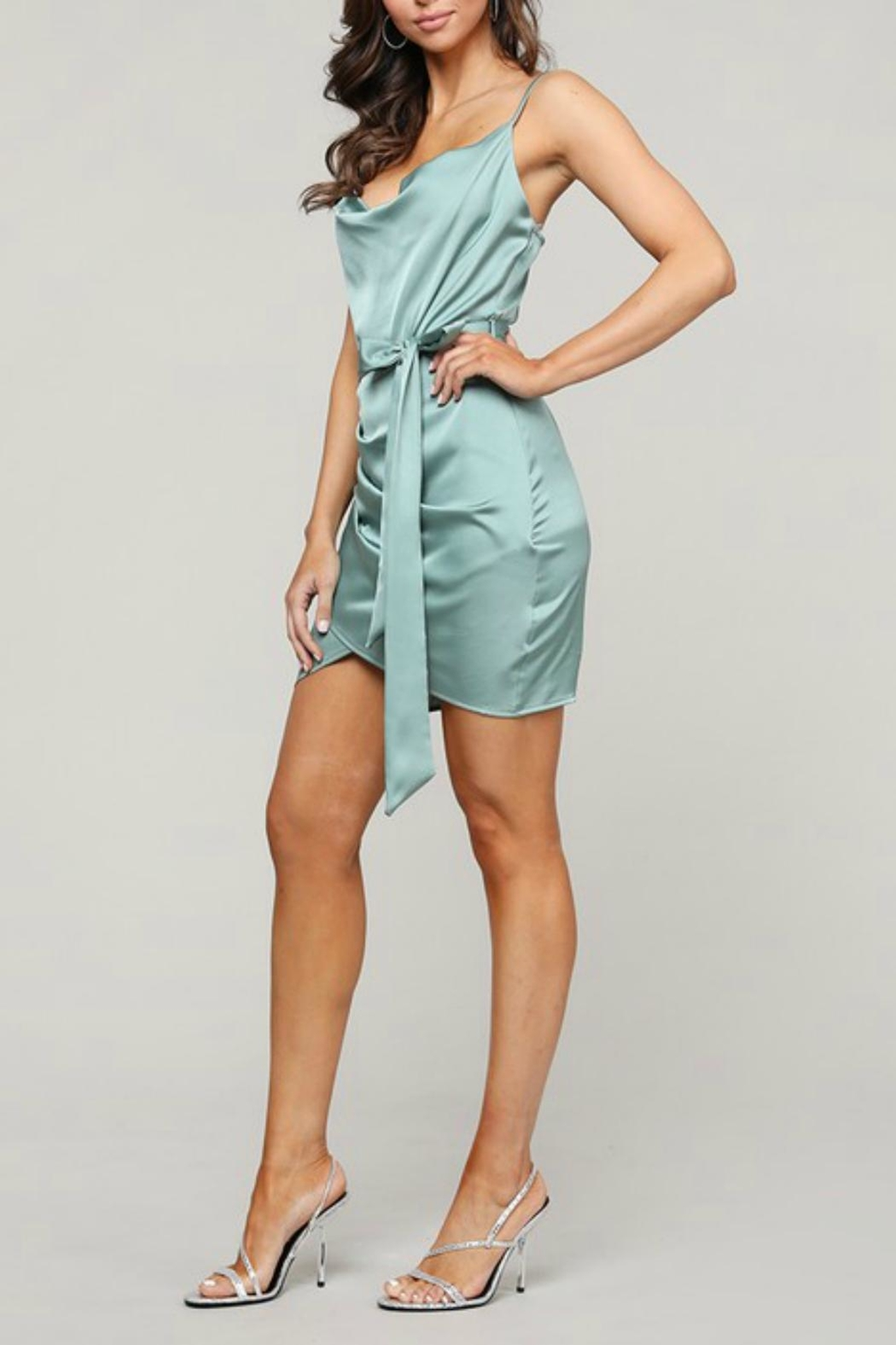 Pretty Little Things Satin Wrap Dress - Front Full Image
