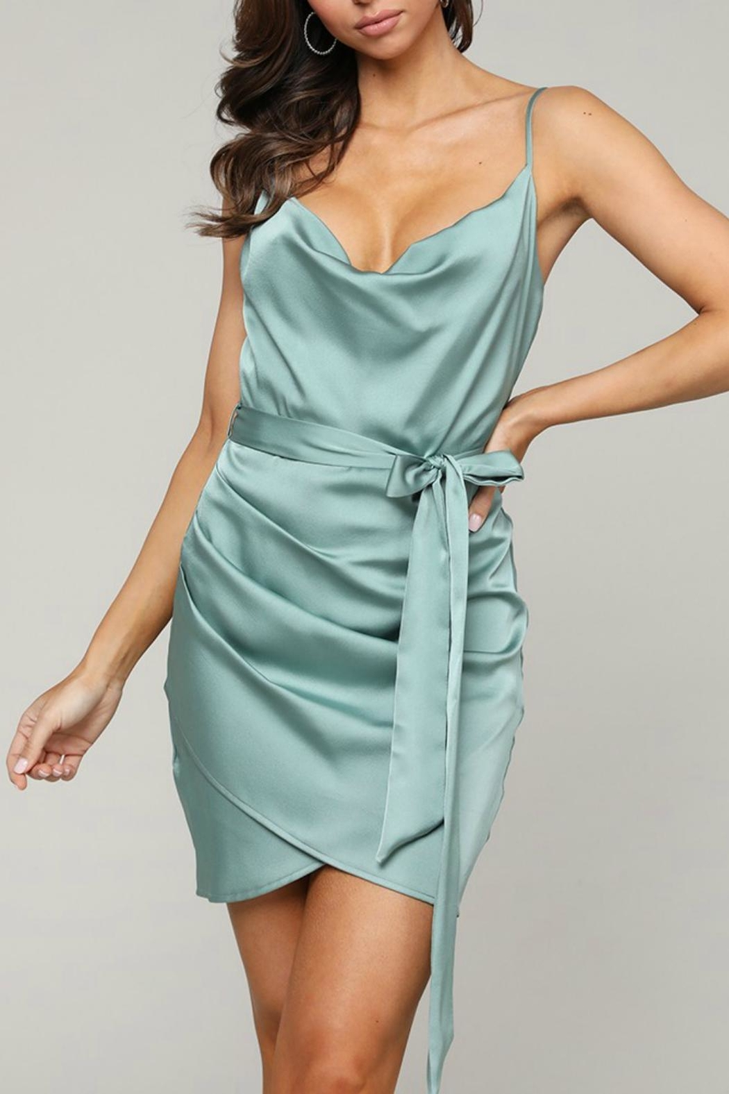 Pretty Little Things Satin Wrap Dress - Main Image
