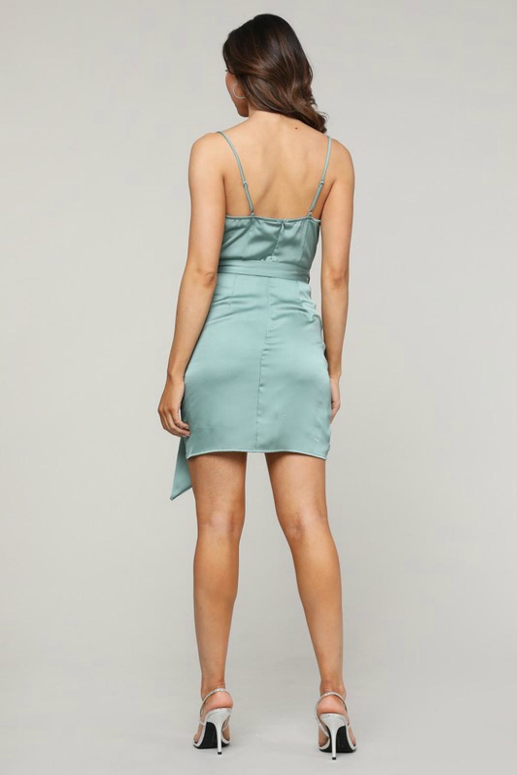 Pretty Little Things Satin Wrap Dress - Side Cropped Image