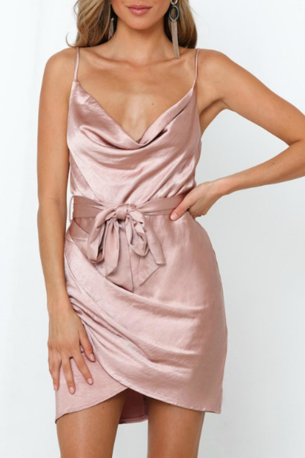 Pretty Little Things Satin Wrap Dress - Front Cropped Image