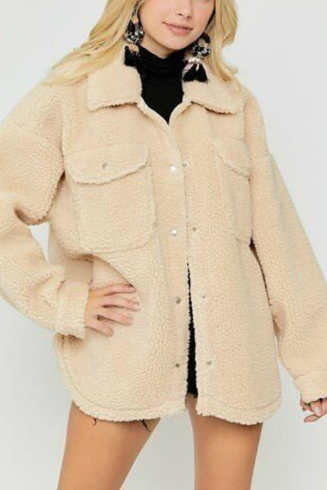 Pretty Little Things Sherpa Shirt Jacket - Front Full Image