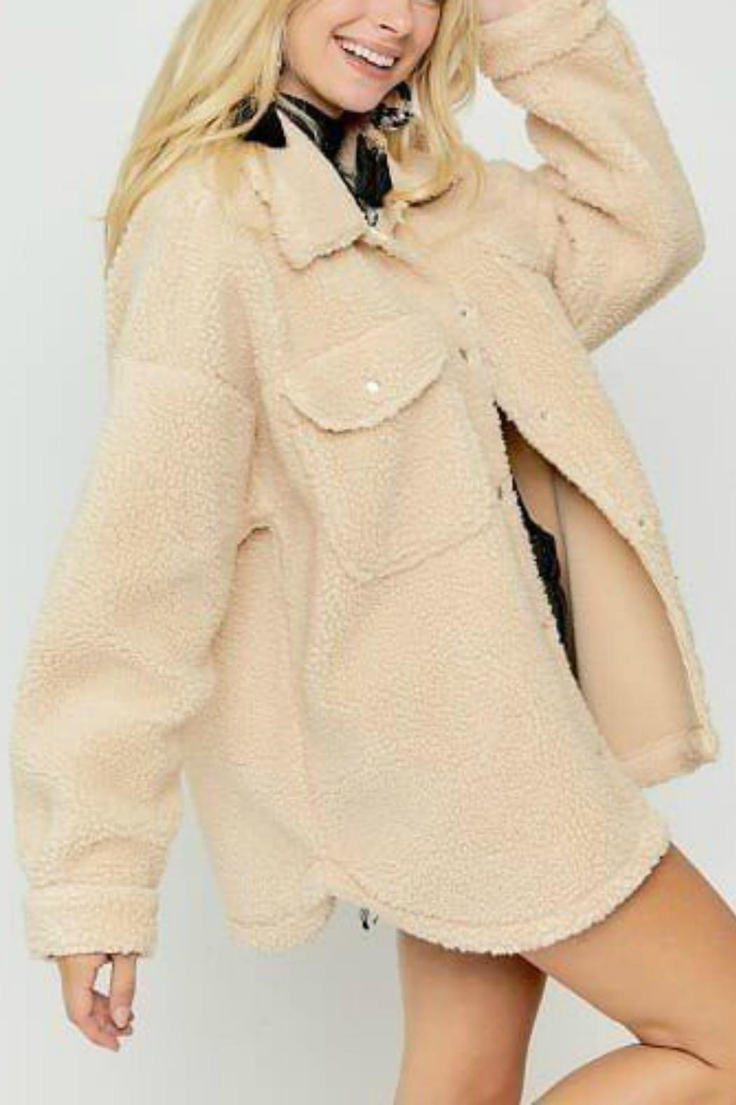 Pretty Little Things Sherpa Shirt Jacket - Front Cropped Image
