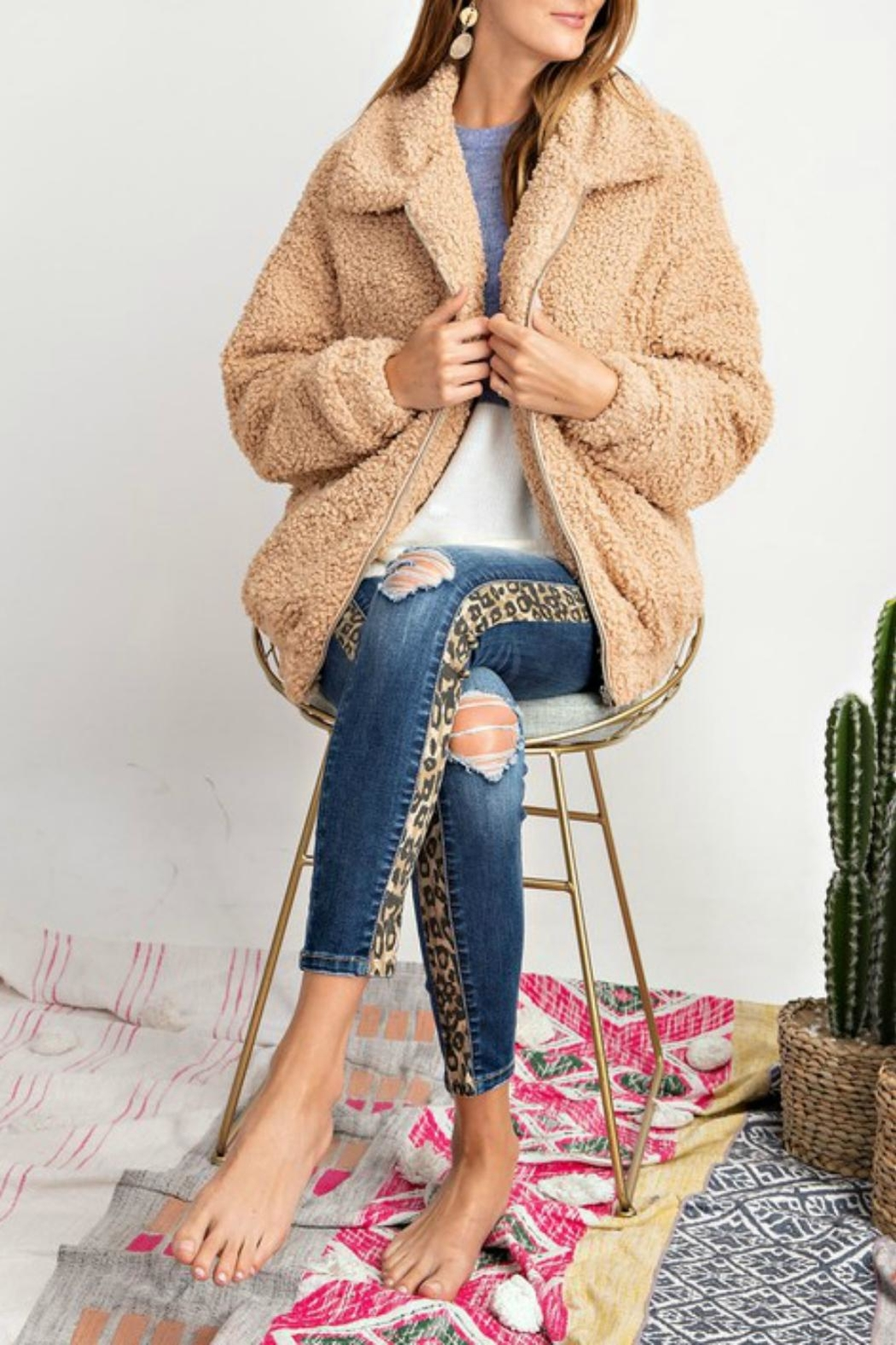 Pretty Little Things Sherpa Teddy Coat - Front Cropped Image
