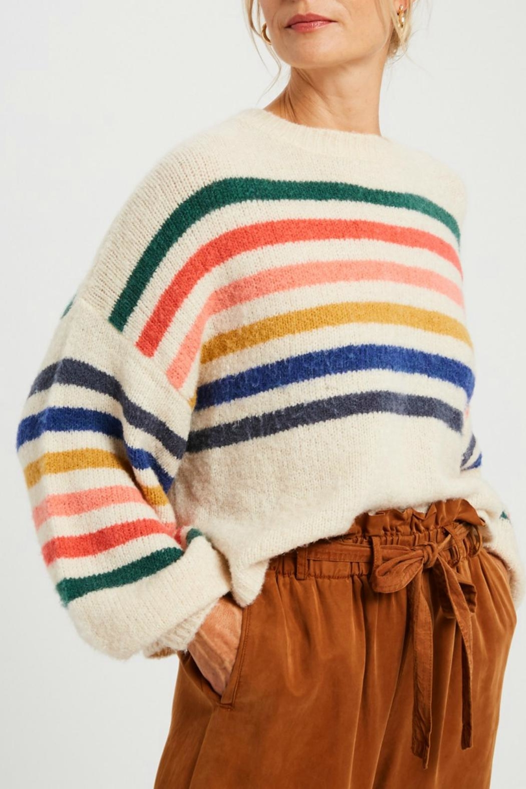 Pretty Little Things Slouchy Rainbow Sweater - Main Image