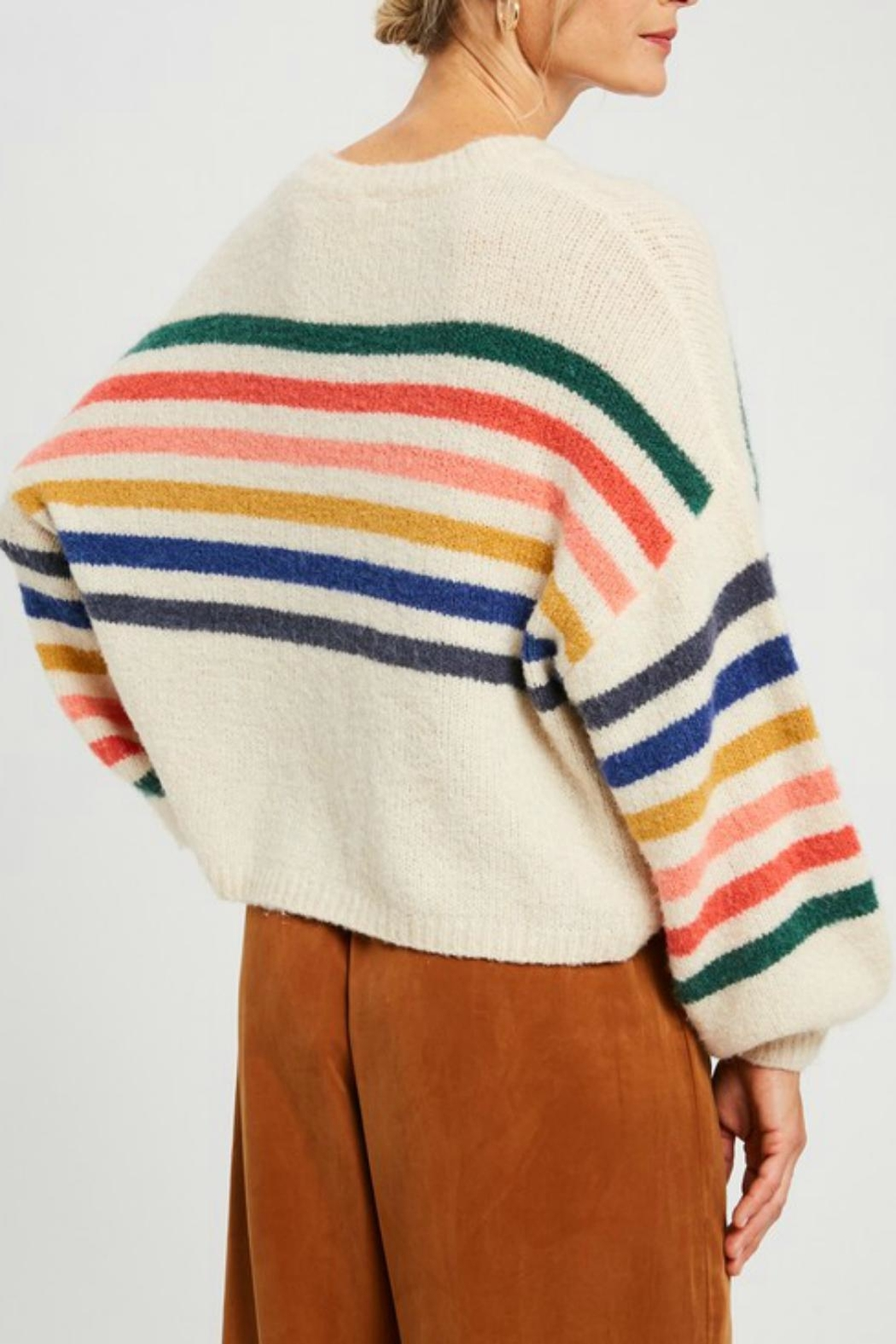 Pretty Little Things Slouchy Rainbow Sweater - Front Full Image