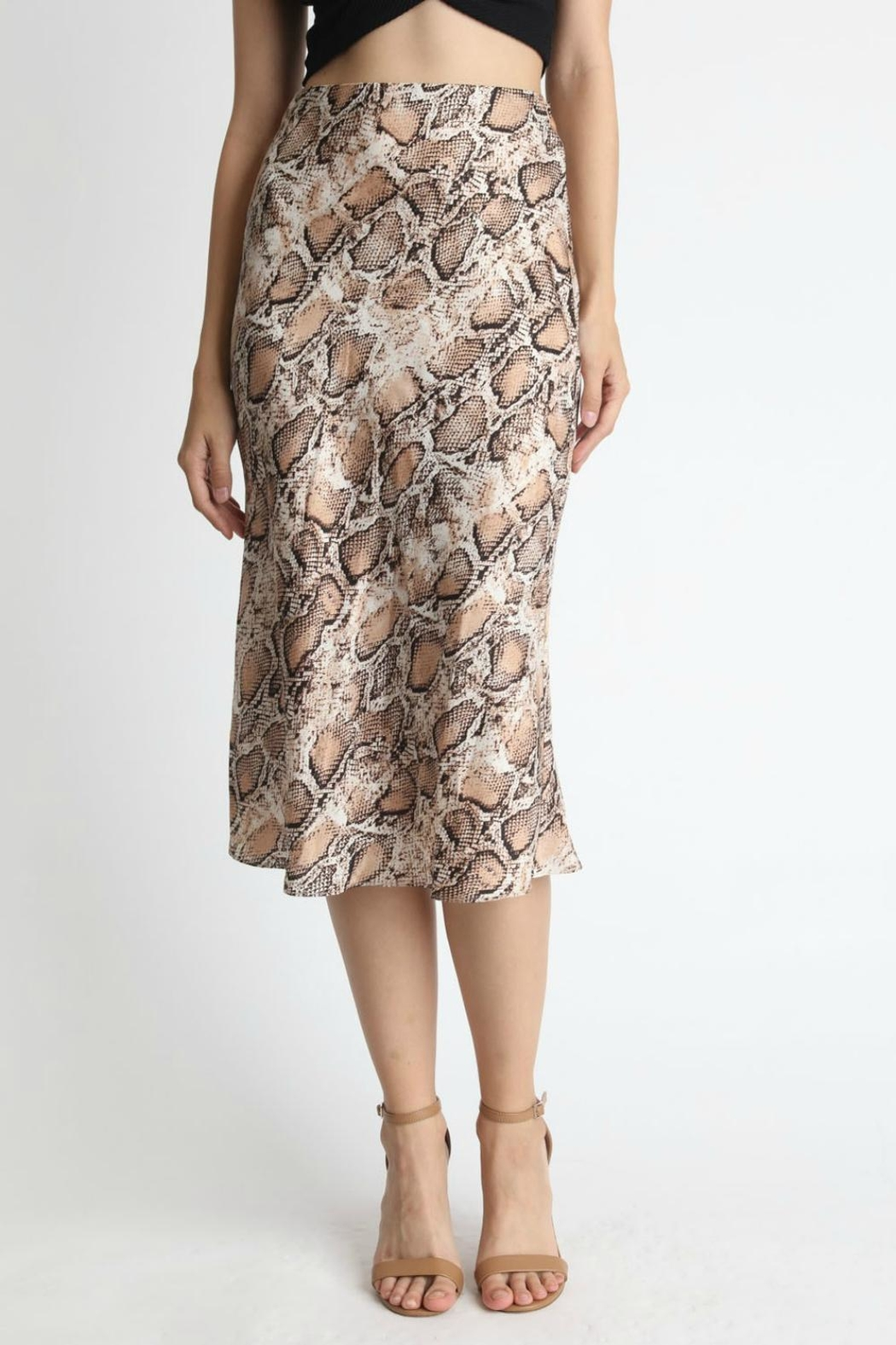Pretty Little Things Snakeskin Midi Skirt - Main Image