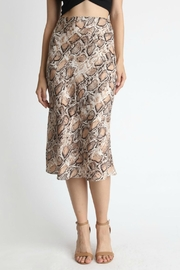Pretty Little Things Snakeskin Midi Skirt - Front cropped