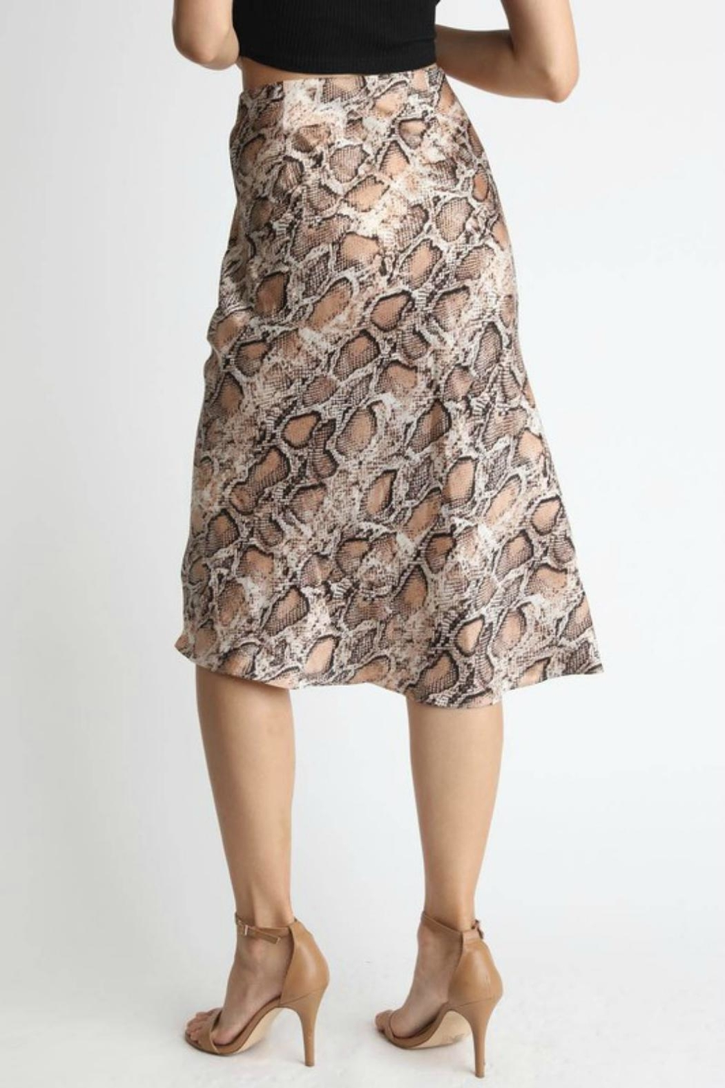 Pretty Little Things Snakeskin Midi Skirt - Front Full Image
