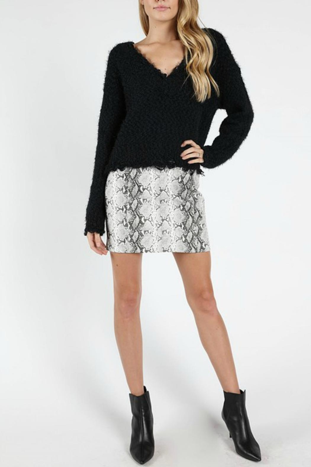 Pretty Little Things Snakeskin Mini Skirt - Front Cropped Image