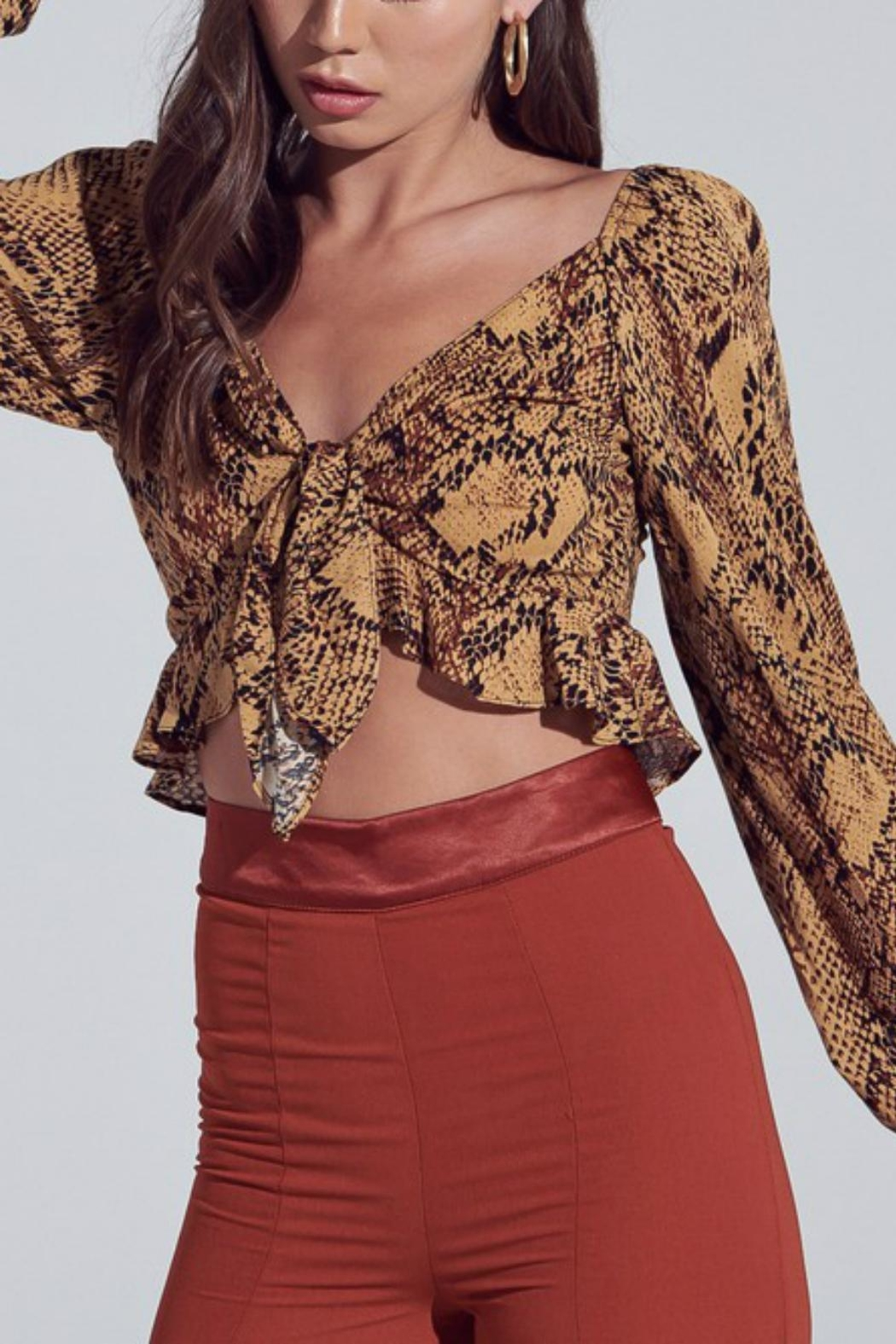 Pretty Little Things Snakeskin Tie-Front Top - Front Full Image