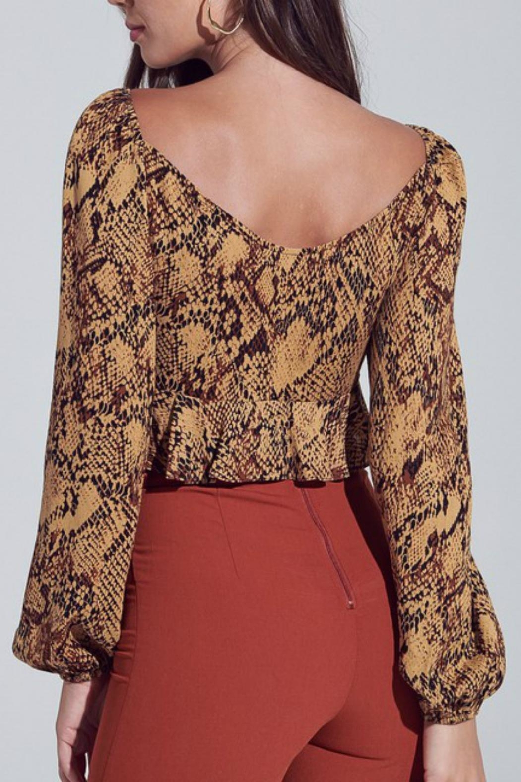 Pretty Little Things Snakeskin Tie-Front Top - Side Cropped Image