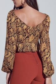 Pretty Little Things Snakeskin Tie-Front Top - Side cropped