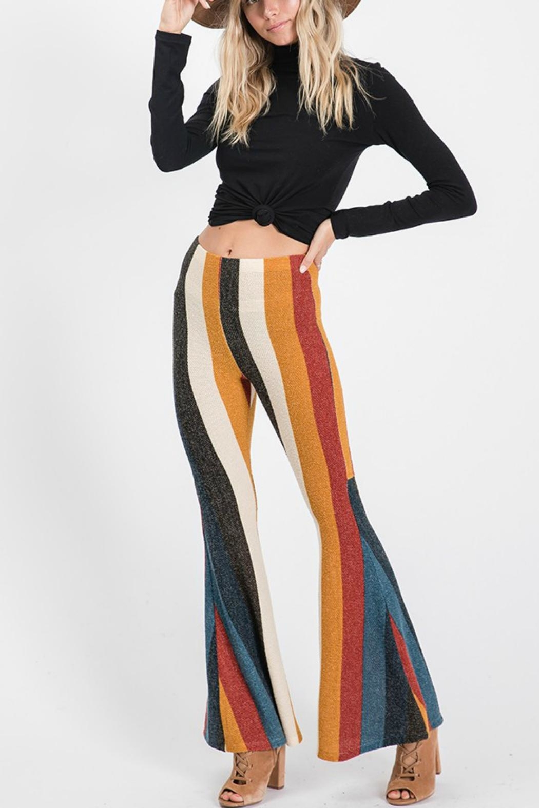 Pretty Little Things Stripe Flare Pants - Side Cropped Image