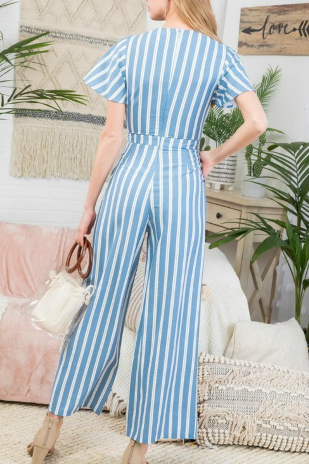 Pretty Little Things Stripe Peekaboo Jumpsuit - Front Full Image