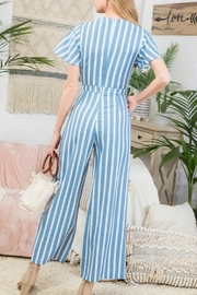 Pretty Little Things Stripe Peekaboo Jumpsuit - Front full body