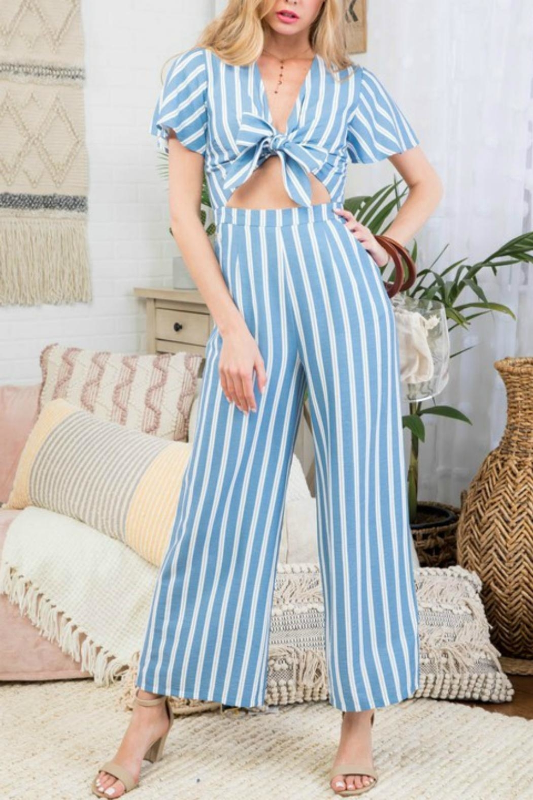 Pretty Little Things Stripe Peekaboo Jumpsuit - Front Cropped Image